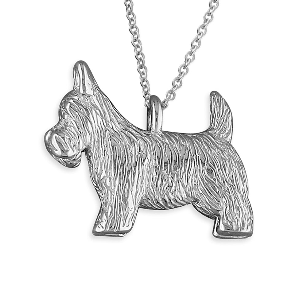 Sterling Silver Scottish Terrier Scottie Dog Pendant Necklace