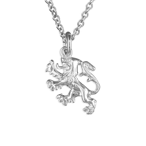 Sterling Silver Scottish Lion Pendant Necklace