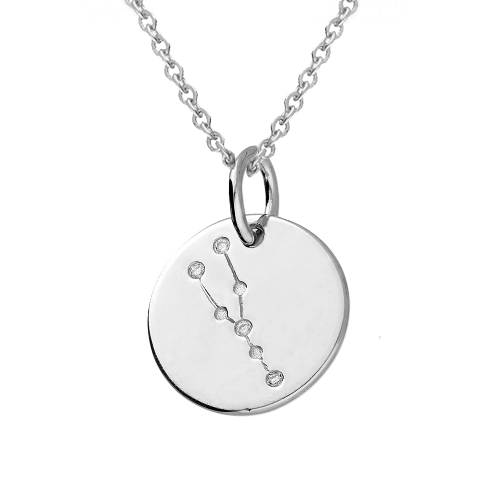 Taurus Star Constellation Sterling Silver Pendant Necklace