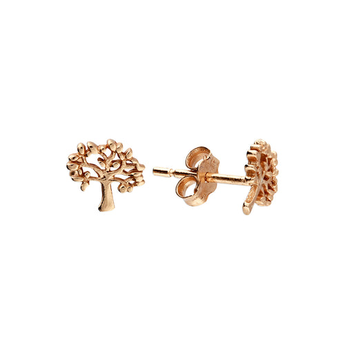 Sterling Silver 24k Rose Gold Celtic Tree of Life Stud Earrings