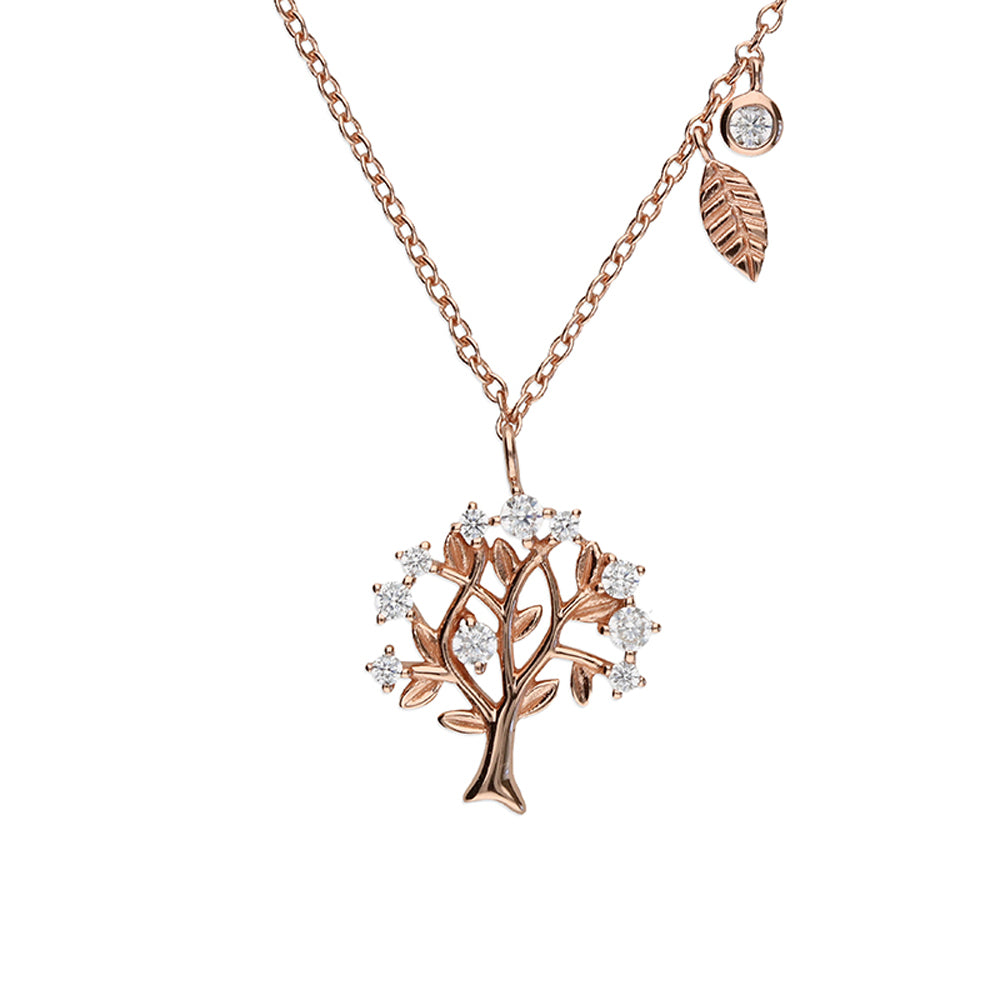 Sterling Silver 24k Rose Gold Crystal Celtic Tree of Life Pendant Necklace