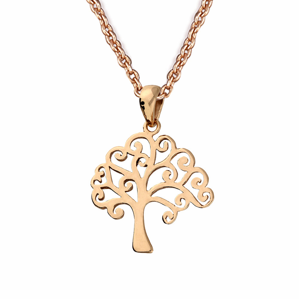 Sterling Silver 24k Rose Gold Celtic Tree of Life Pendant Necklace
