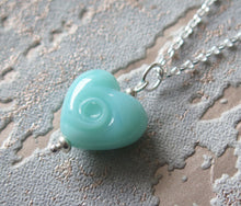 Load image into Gallery viewer, Turquoise Blue Glass Lampwork Beach Wave Swirl Heart Pendant Necklace