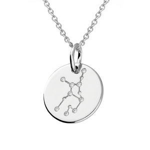 Virgo Star Constellation Sterling Silver Pendant Necklace