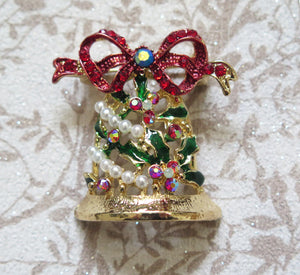 Crystal Christmas Bell Brooch