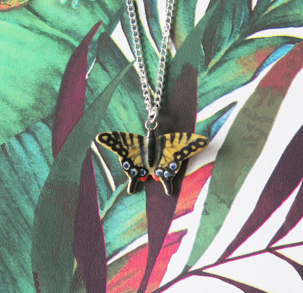 Yellow Swallowtail Butterfly Porcelain Pendant Necklace