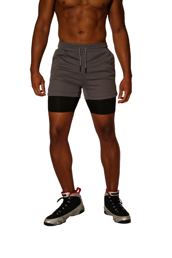 Grey and Black Workout Shorts