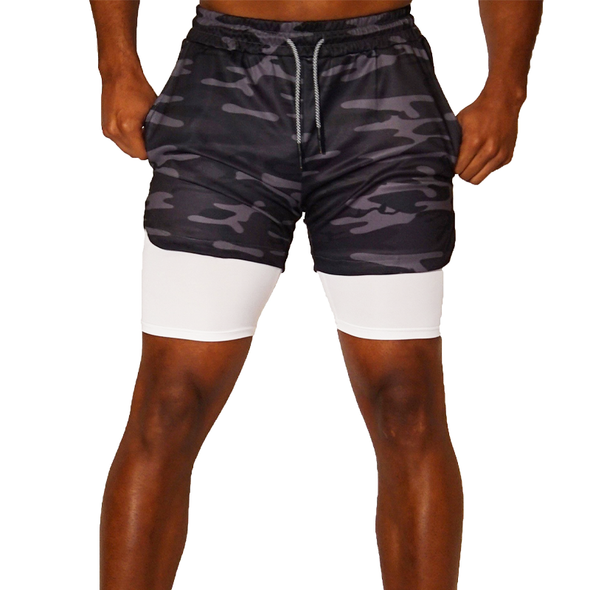 Gray Camo Workout Shorts