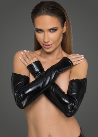 Lacquered eco leather and powerwetlook gloves/M