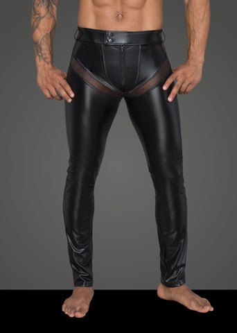 Men's powerwetlook long pants with inserts and pockets made of 3D net