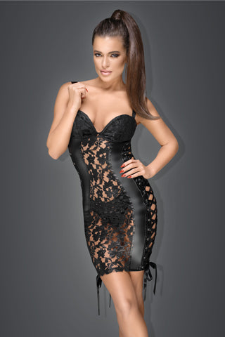 Lace and powerwetlook minidress with ribbon