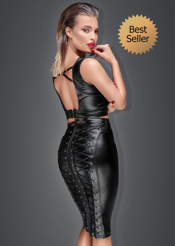 Powerwetlook pencil skirt