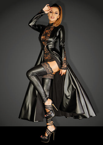 Powerwetlook gown coat