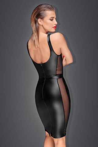 Powerwetlook pencil dress with see-through