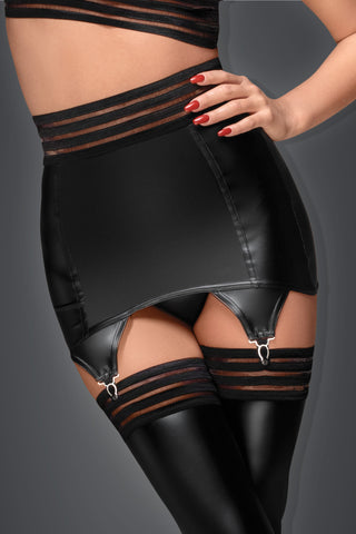 Powerwetlook garter belt with elastic tape