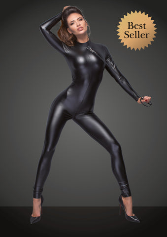 Powerwetlook catsuit with leash and two-way zipper