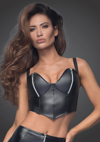 Powerwetlook top with silvers zippers on breast