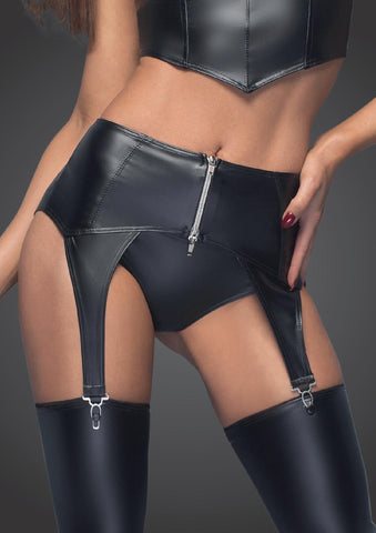 Powerwetlook garter belt with silver zipper
