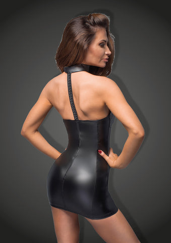 Powerwetlook minidress with eco-leather cups
