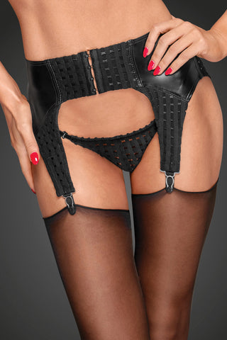 Powerwetlook garter belt with decorative clips and chequered tape
