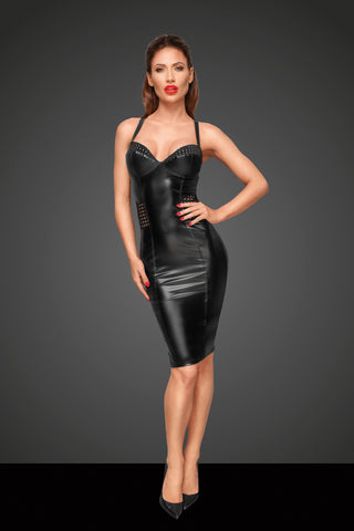 Powerwetlook dress with chequered tape inserts on the waist and bust