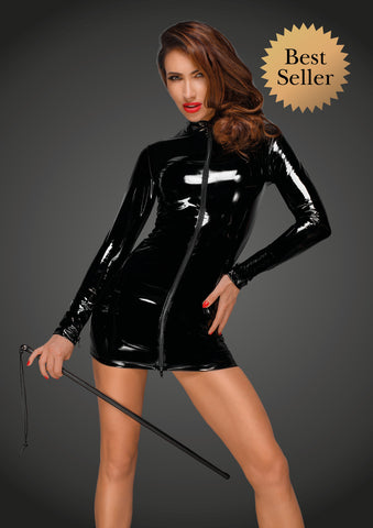 PVC mini dress with black 2-way zipper in the front