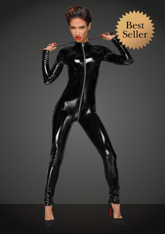 PVC catsuit overall with long metal 3-way zipper
