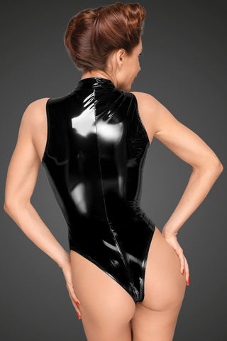 PVC body with deep cut shoulder line and long metal 3-way zipper