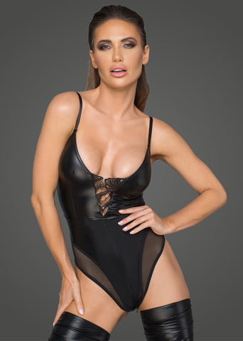 Women's powerwetlook body with tulle inserts