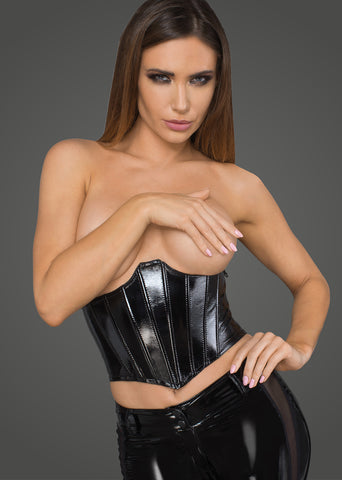 Women's lacquered eco leather corset wit fishbones