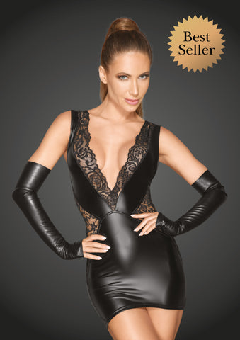 Powerwetlook and lace minidress with a deep neckline