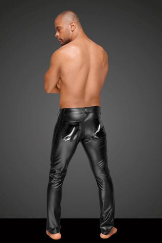Powerwetlook men's trousers with decorative PVC pleats