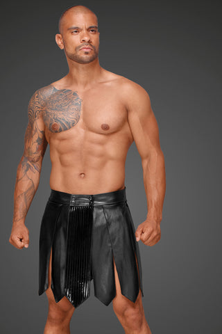 Eco leather men's gladiator skirt with PVC pleats