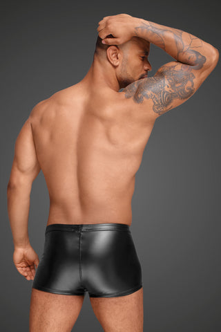 Powerwetlook men's shorts with decorative PVC pleats