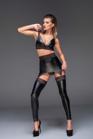 Powerwetlook stockings with elastic tape