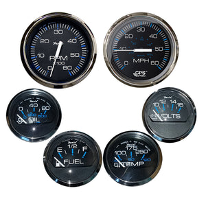 Faria Chesapeake Black w/Stainless Steel Bezel Boxed Set of 6 - Speed, Tach, Fuel Level, Voltmeter, Water Temperature  Oil PSI - Inboard Motors