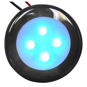 Aqua Signal Bogota 4 LED Round Light - Blue LED w/Stainless Steel Housing