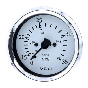 "VDO Cockpit Marine 85MM (3-3/8"") Pitot Speedometer - 0 to 35 MPH - White Dial/Chrome Bezel"