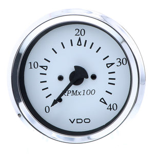 "VDO Cockpit Marine 85MM (3-3/8"") Diesel Tachometer - 4000 RPM - White Dial/Chrome Bezel"