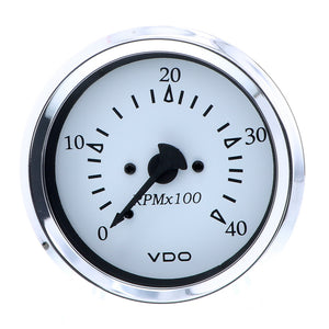"VDO Cockpit Marine 85MM (3-3/8"") Diesel Tachometer - Alternator Input - White Dial/Chrome Bezel"