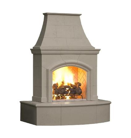 AMERICAN FYRE DESIGNS 017-01-N-BA-LBC 87 INCH VENTED FREE-STANDING OUTDOOR PHOENIX FIREPLACE, 16 INCH RADIUSED BULLNOSE, NO RECESS