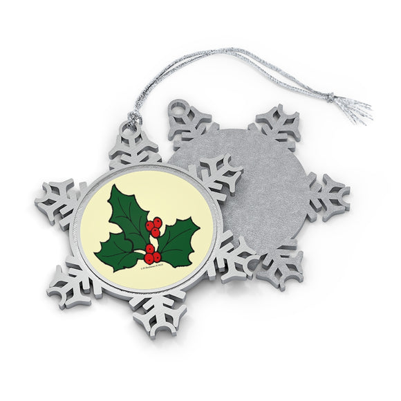 Holly Sprig Pewter Snowflake Ornament