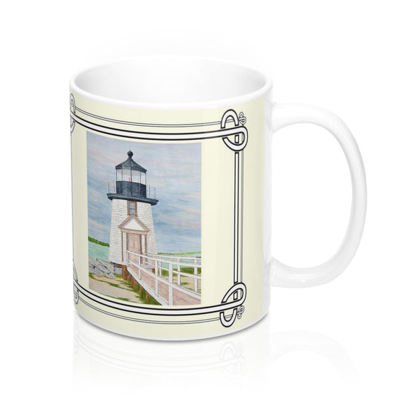 Evening Light at Brant Point Lighthouse Mug by Lee M. Buchanan