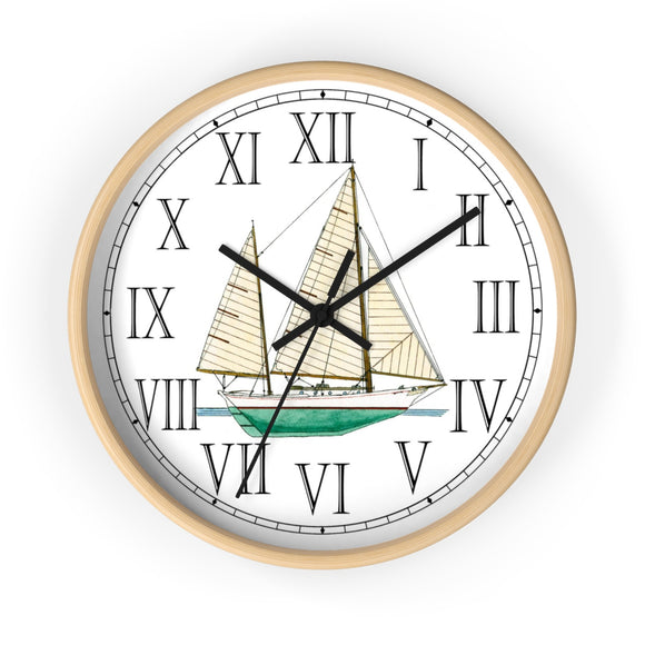 Clipper Bowed Cruising Ketch Roman Numeral Clock