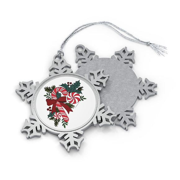 Candy Cane Favorites with Holly Pewter Snowflake Ornament