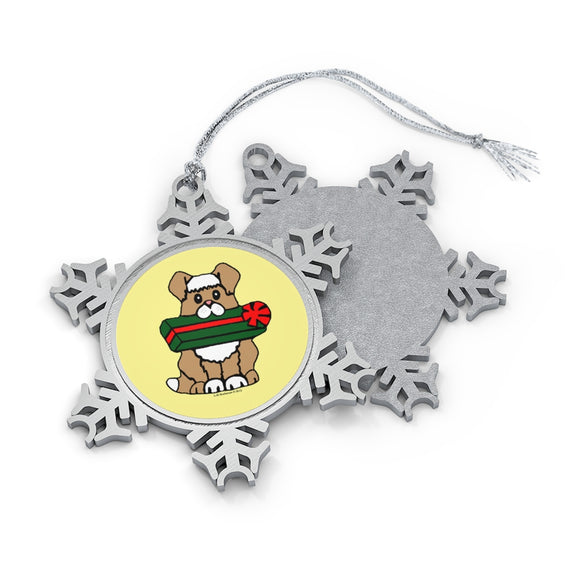 Holiday Dog with Gift Pewter Snowflake Ornament