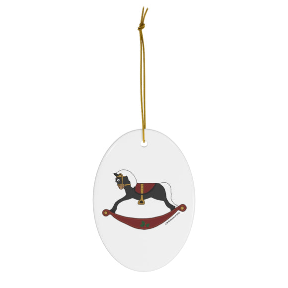 Black and Red Rocking Horse Oval Ceramic Ornament
