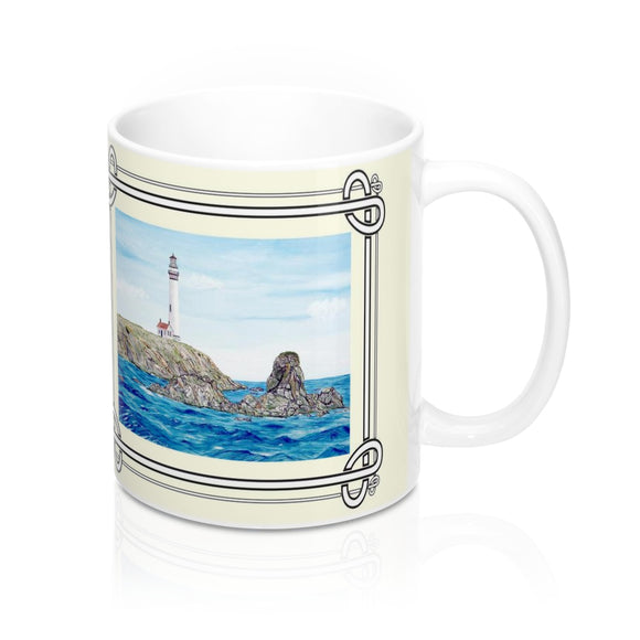 Rocks Off Pigeon Point Lighthouse Mug by Lee M. Buchanan