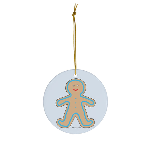 Happy Gingerbread Boy Round Ceramic Ornament
