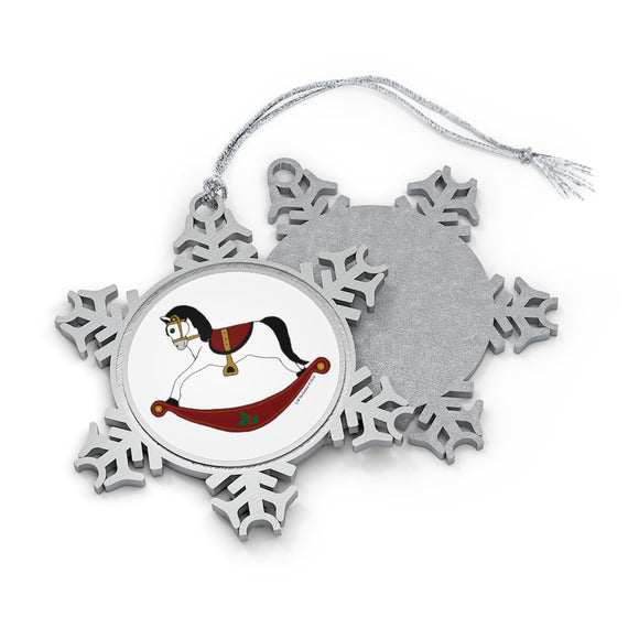 White and Red Rocking Horse Pewter Snowflake Ornament